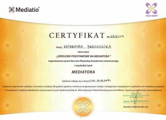 certyfikat mediatora sądowego